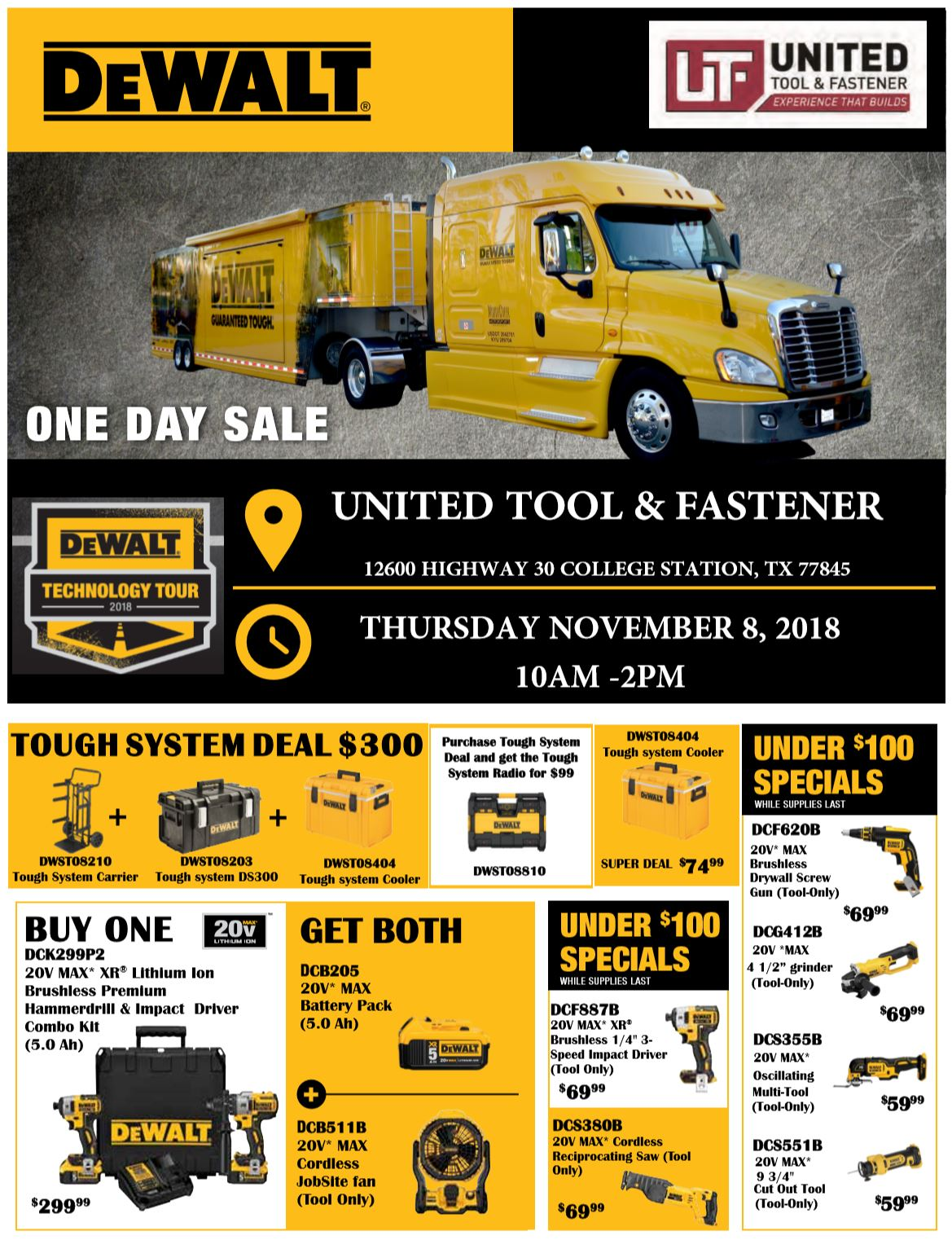 DeWalt College Station 2018 One-Day Sale flyer
