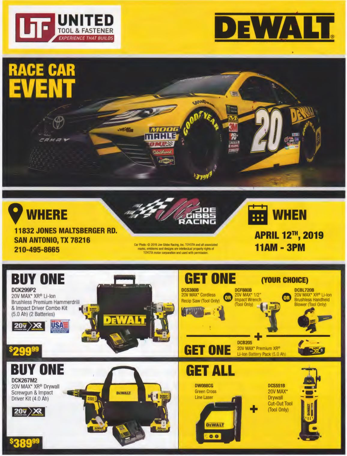 San Antonio DeWalt Race Car Sale