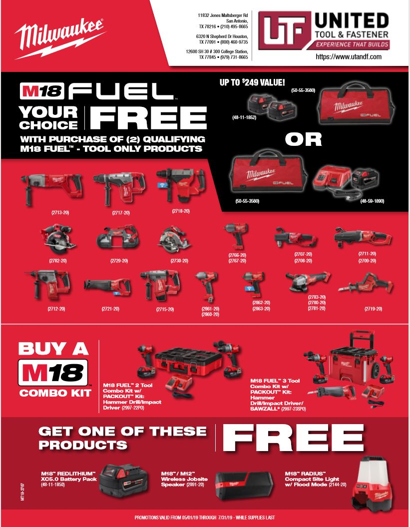 Milwaukee 2019 Specials