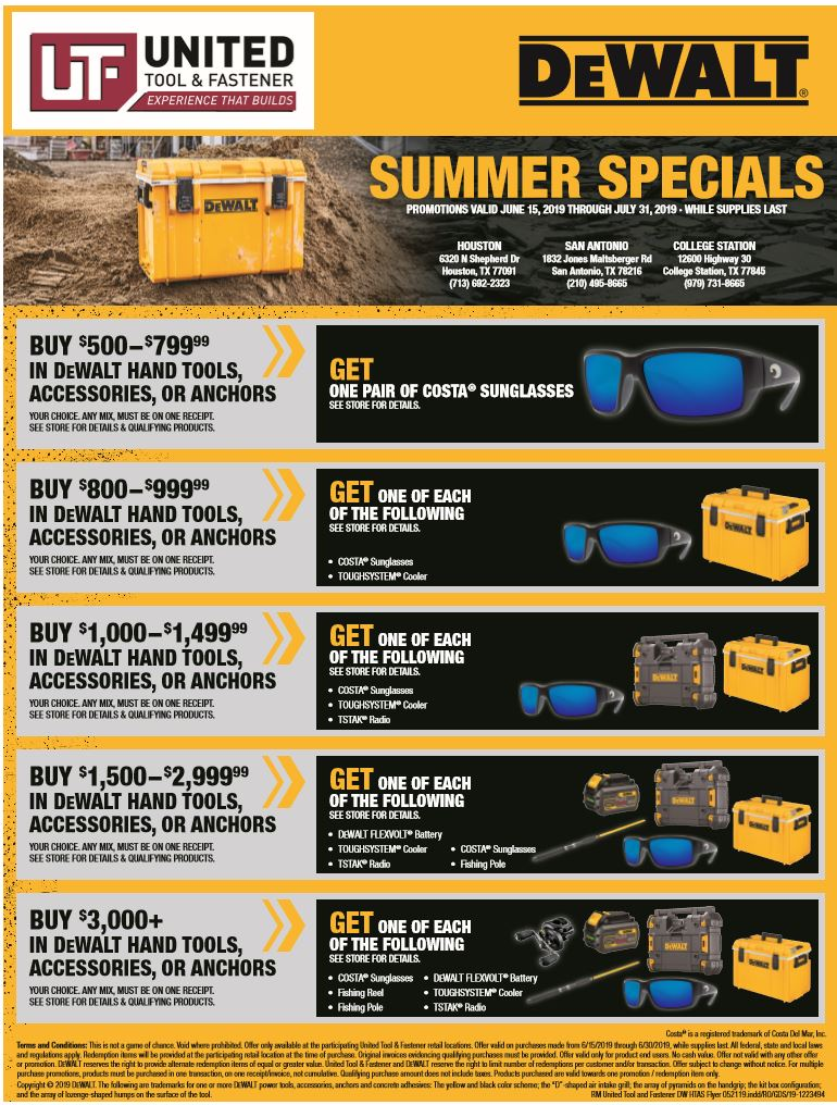DeWalt 2019 Summer Specials