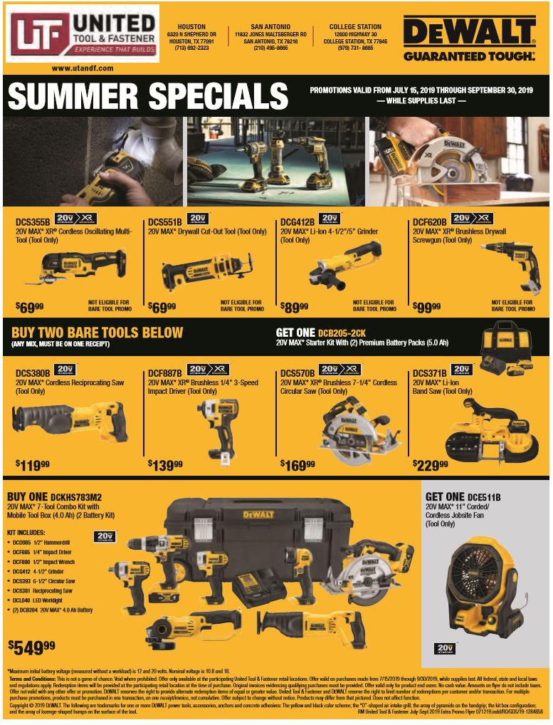 DeWalt Summer Specials Insert
