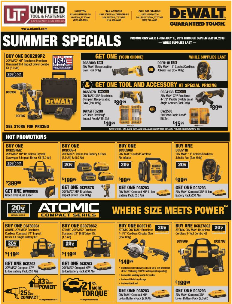Extra 2019 DeWalt Summer Specials!