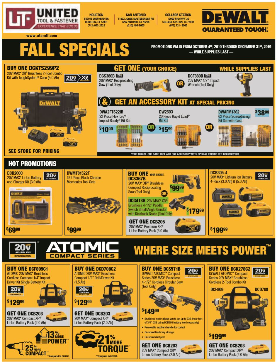DeWalt Fall 2019 Specials