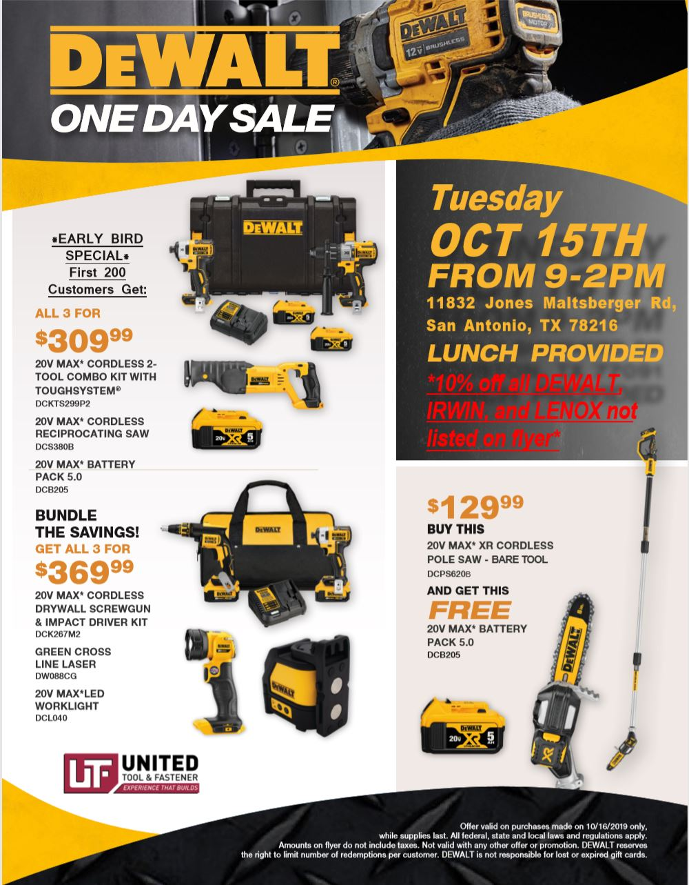 San Antonio DeWalt One-Day Sale