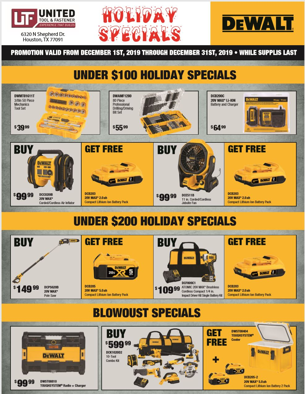 DeWalt 2019 Holiday Specials
