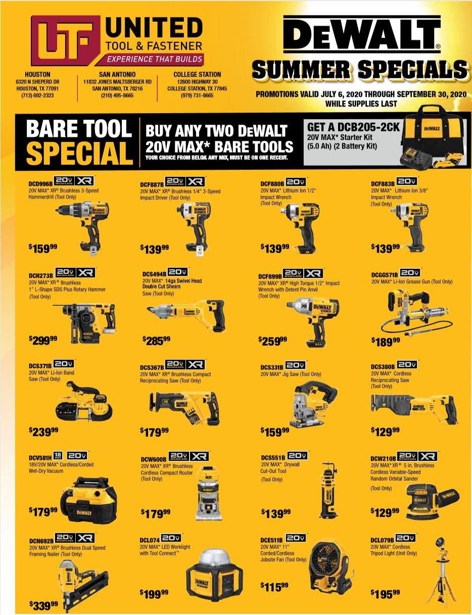 DeWalt Summer 2020 Bare Tool Specials