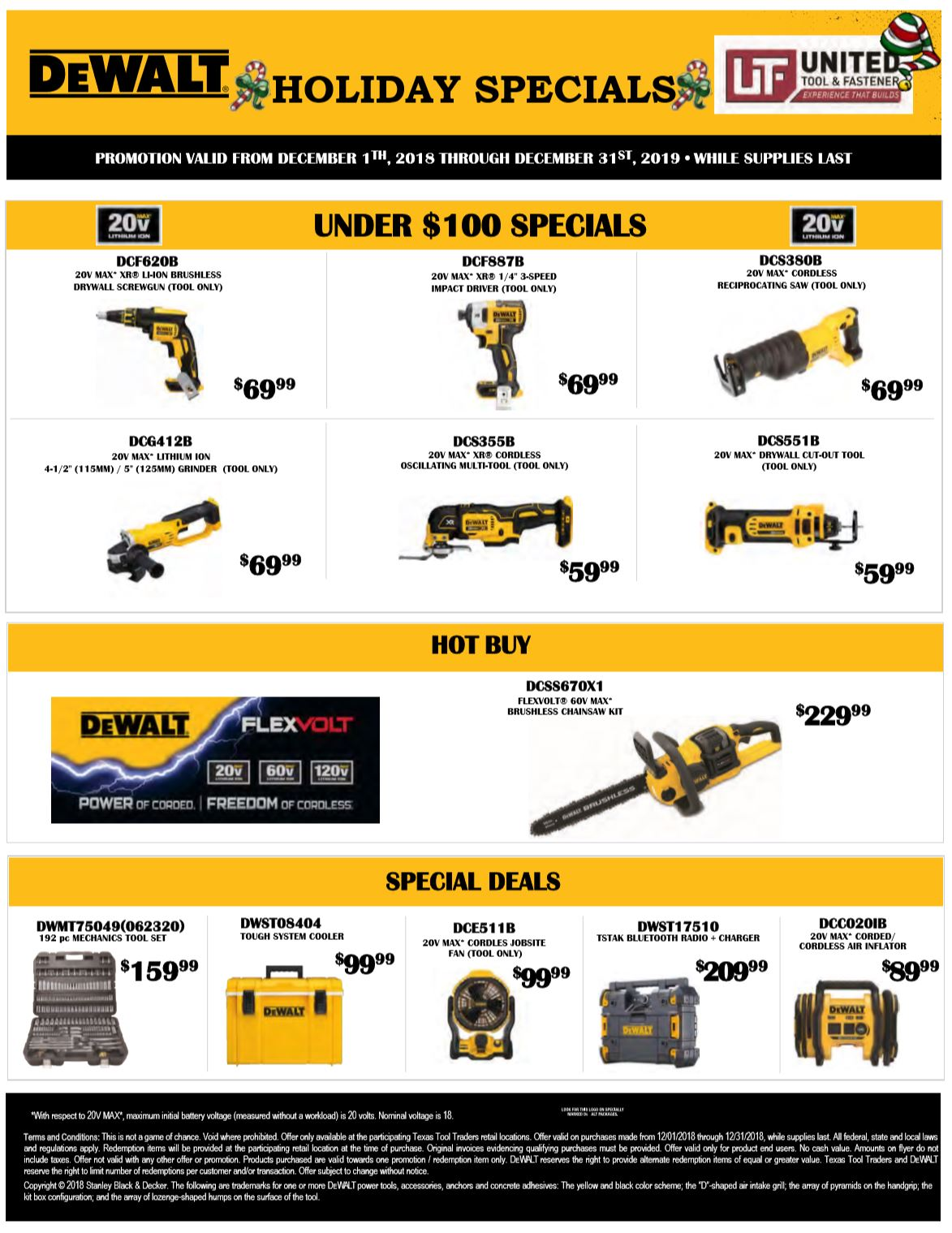 DeWalt 2018 Holiday Specials
